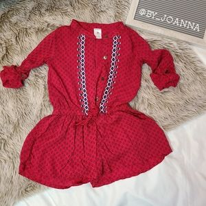 《CARTERS》Red Button Down Short Romper